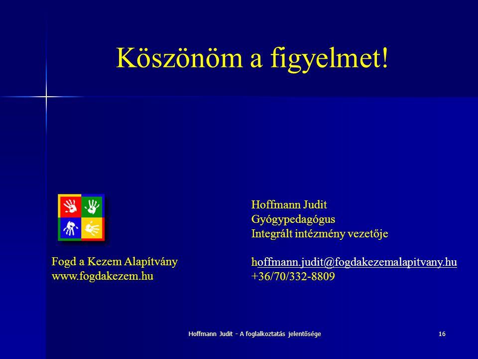 Hoffmann Judit - A foglalkoztatás jelentősége16 Köszönöm a figyelmet! Hoffmann Judit Gyógypedagógus Integrált intézmény vezetője hoffmann.judit@fogdak