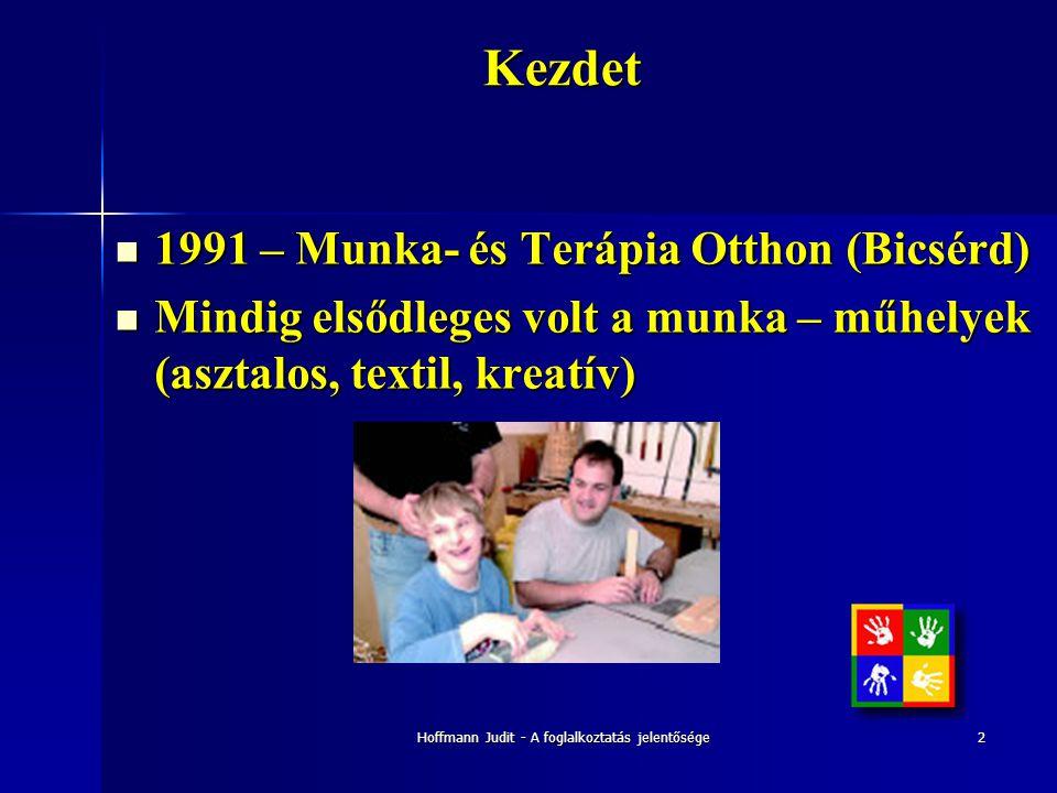 Hoffmann Judit - A foglalkoztatás jelentősége2Kezdet  1991 – Munka- és Terápia Otthon (Bicsérd)  Mindig elsődleges volt a munka – műhelyek (asztalos