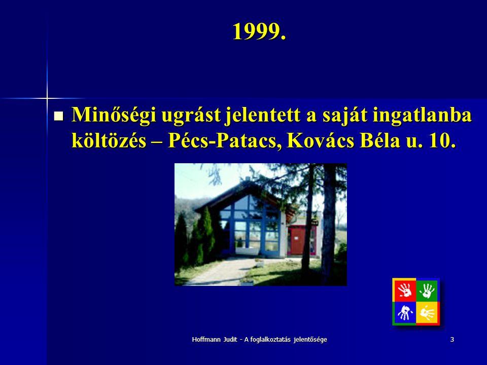 Hoffmann Judit - A foglalkoztatás jelentősége31999.  Minőségi ugrást jelentett a saját ingatlanba költözés – Pécs-Patacs, Kovács Béla u. 10.