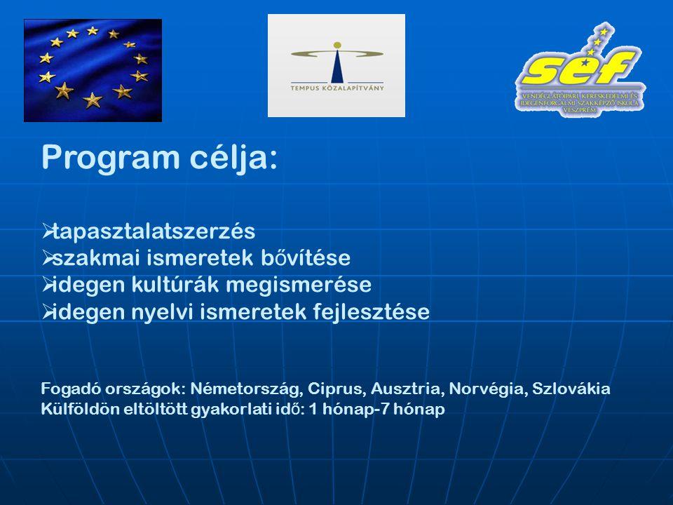 Program célja:  tapasztalatszerzés  szakmai ismeretek b ő vítése  idegen kultúrák megismerése  idegen nyelvi ismeretek fejlesztése Fogadó országok: Németország, Ciprus, Ausztria, Norvégia, Szlovákia Külföldön eltöltött gyakorlati id ő : 1 hónap-7 hónap