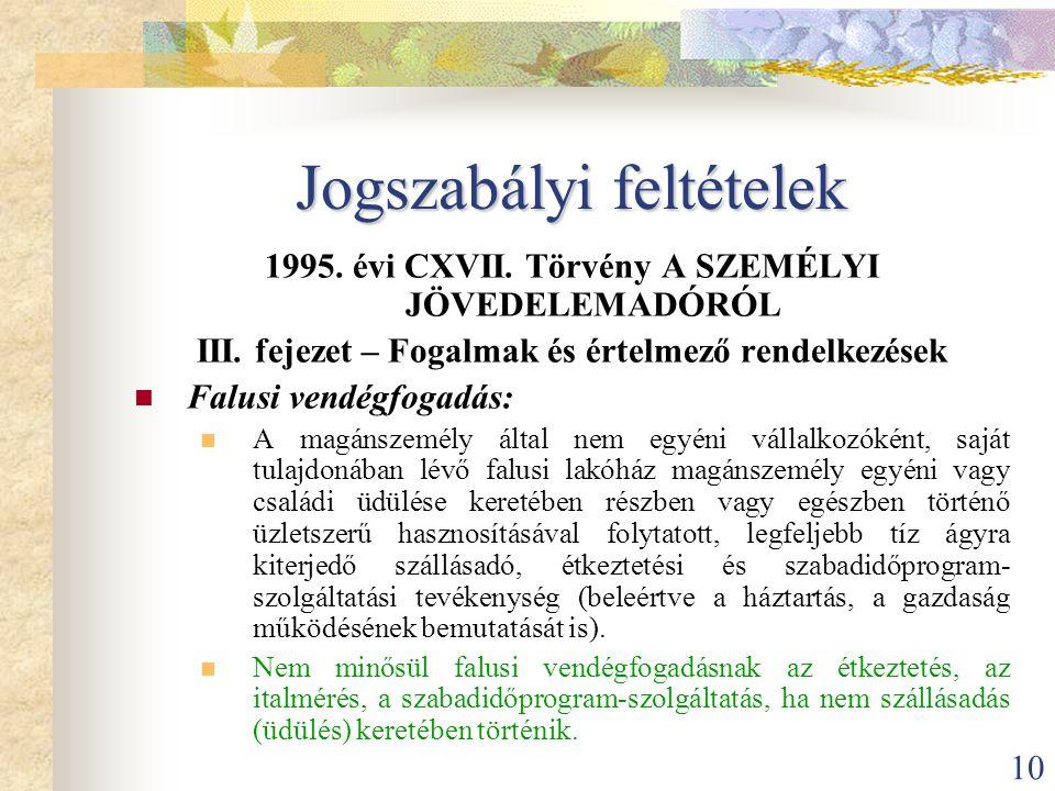 10 Jogszabályi feltételek 1995. évi CXVII. Törvény A SZEMÉLYI JÖVEDELEMADÓRÓL III. fejezet – Fogalmak és értelmező rendelkezések  Falusi vendégfogadá
