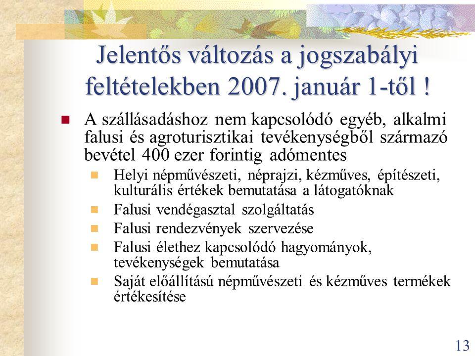 13 Jelentős változás a jogszabályi feltételekben 2007. január 1-től !  A szállásadáshoz nem kapcsolódó egyéb, alkalmi falusi és agroturisztikai tevék
