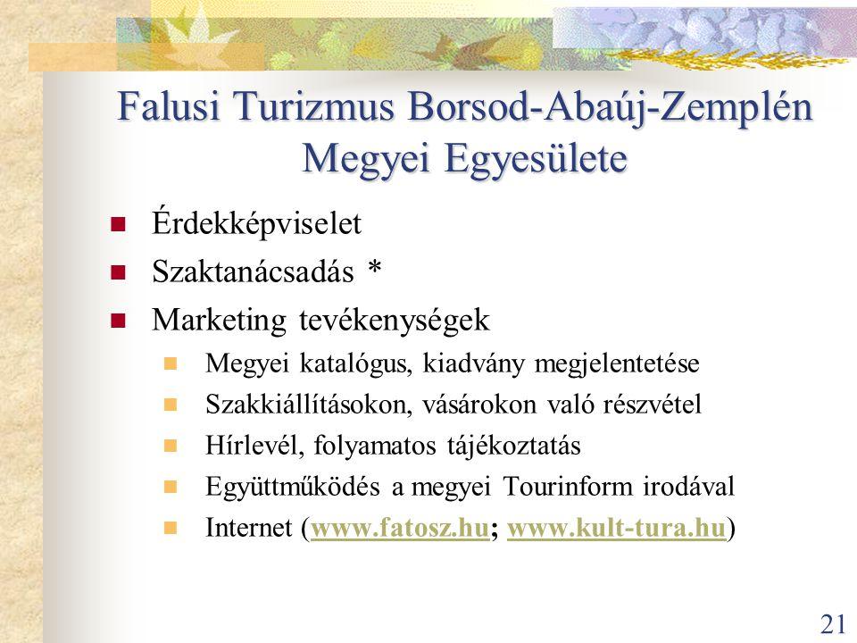 21 Falusi Turizmus Borsod-Abaúj-Zemplén Megyei Egyesülete  Érdekképviselet  Szaktanácsadás *  Marketing tevékenységek  Megyei katalógus, kiadvány