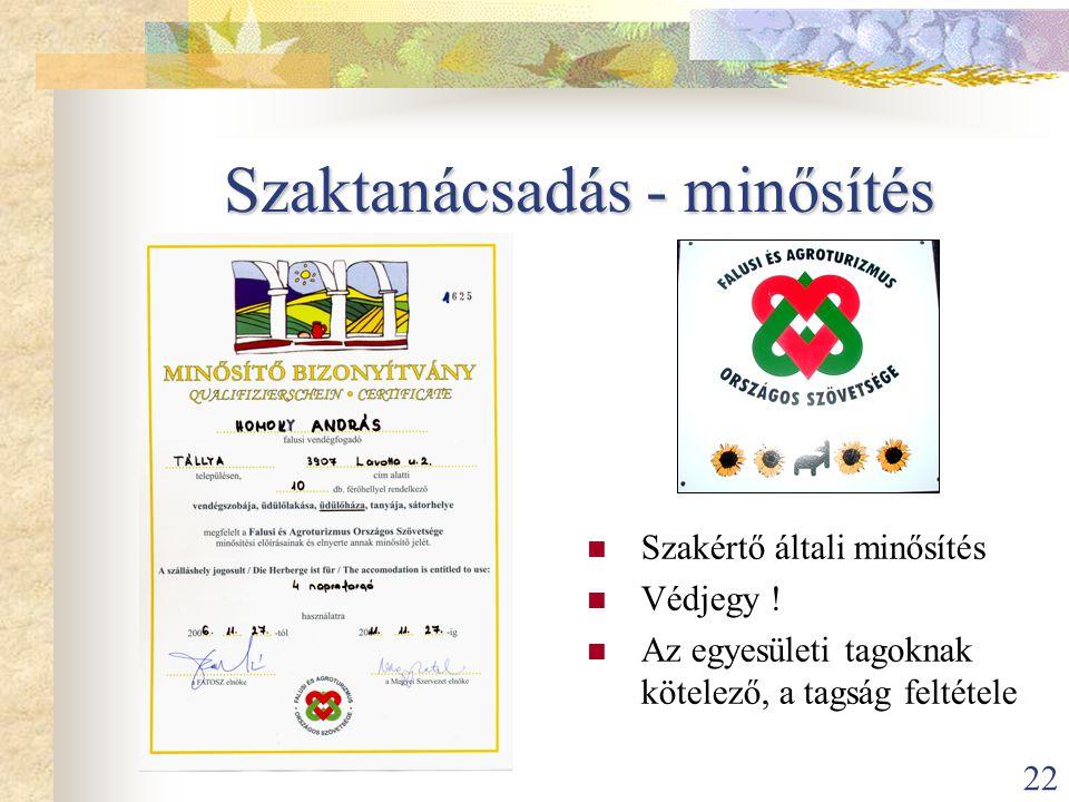 22 Szaktanácsadás - minősítés  Szakértő általi minősítés  Védjegy !  Az egyesületi tagoknak kötelező, a tagság feltétele