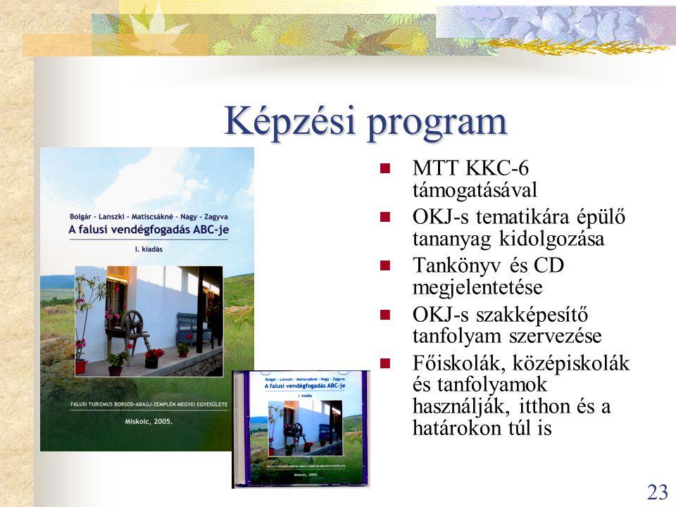 23 Képzési program  MTT KKC-6 támogatásával  OKJ-s tematikára épülő tananyag kidolgozása  Tankönyv és CD megjelentetése  OKJ-s szakképesítő tanfol