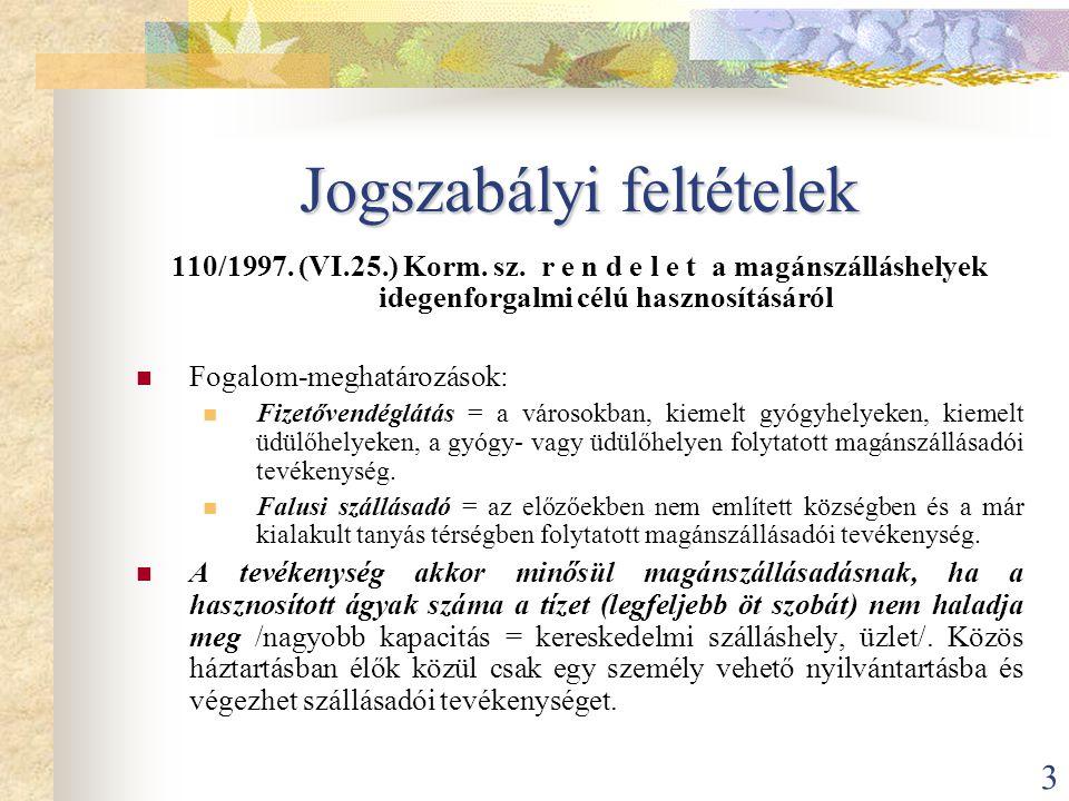 3 Jogszabályi feltételek 110/1997. (VI.25.) Korm. sz. r e n d e l e t a magánszálláshelyek idegenforgalmi célú hasznosításáról  Fogalom-meghatározáso