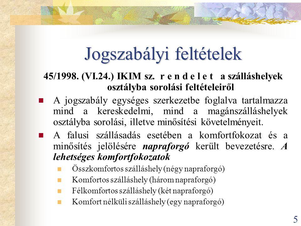 5 Jogszabályi feltételek 45/1998. (VI.24.) IKIM sz. r e n d e l e t a szálláshelyek osztályba sorolási feltételeiről  A jogszabály egységes szerkezet