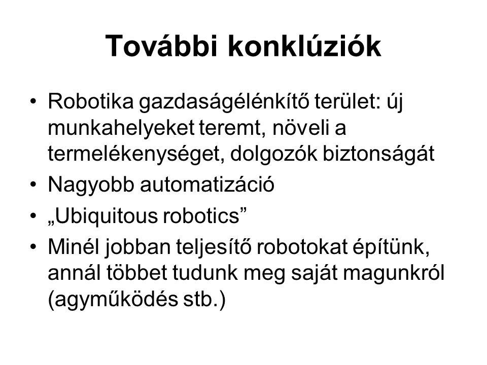 """További konklúziók •Robotika gazdaságélénkítő terület: új munkahelyeket teremt, növeli a termelékenységet, dolgozók biztonságát •Nagyobb automatizáció •""""Ubiquitous robotics •Minél jobban teljesítő robotokat építünk, annál többet tudunk meg saját magunkról (agyműködés stb.)"""