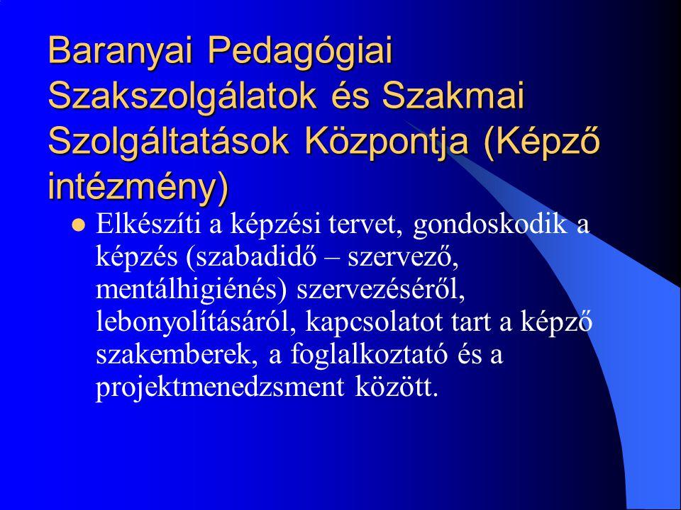 Baranyai Pedagógiai Szakszolgálatok és Szakmai Szolgáltatások Központja (Képző intézmény)  Elkészíti a képzési tervet, gondoskodik a képzés (szabadid