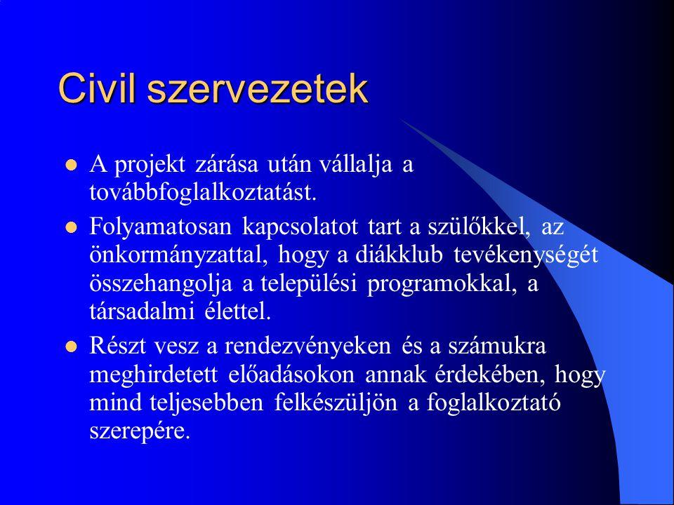 Civil szervezetek  A projekt zárása után vállalja a továbbfoglalkoztatást.  Folyamatosan kapcsolatot tart a szülőkkel, az önkormányzattal, hogy a di