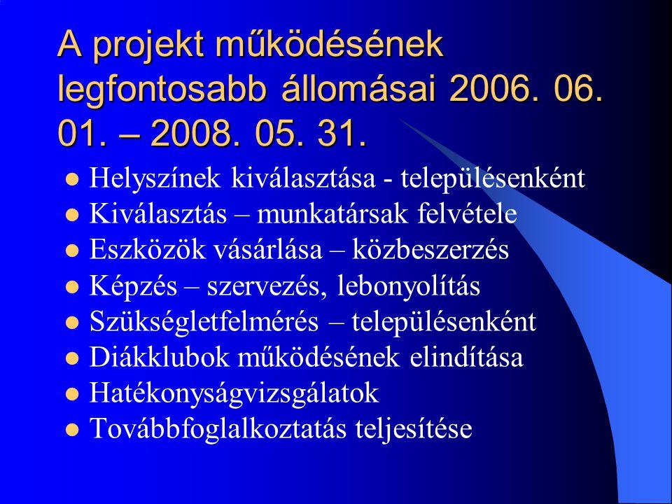 A projekt működésének legfontosabb állomásai 2006. 06. 01. – 2008. 05. 31.  Helyszínek kiválasztása - településenként  Kiválasztás – munkatársak fel