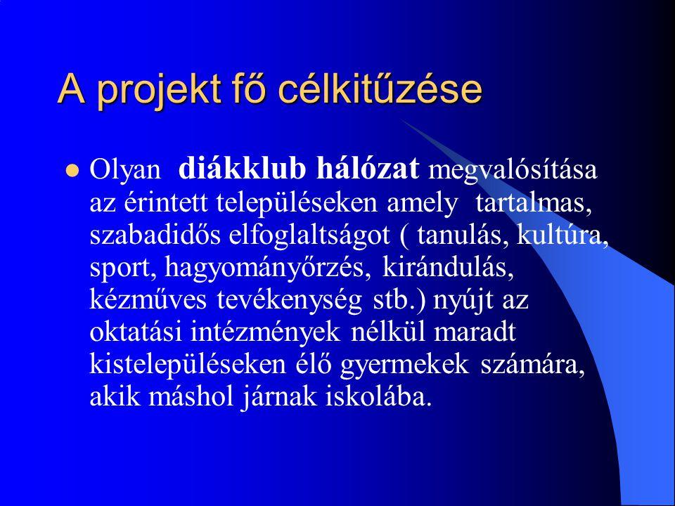 A projekt fő célkitűzése  Olyan diákklub hálózat megvalósítása az érintett településeken amely tartalmas, szabadidős elfoglaltságot ( tanulás, kultúr
