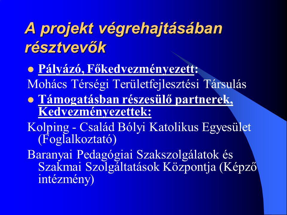 A projekt végrehajtásában résztvevők  Pályázó, Főkedvezményezett: Mohács Térségi Területfejlesztési Társulás  Támogatásban részesülő partnerek, Kedvezményezettek: Kolping - Család Bólyi Katolikus Egyesület (Foglalkoztató) Baranyai Pedagógiai Szakszolgálatok és Szakmai Szolgáltatások Központja (Képző intézmény)