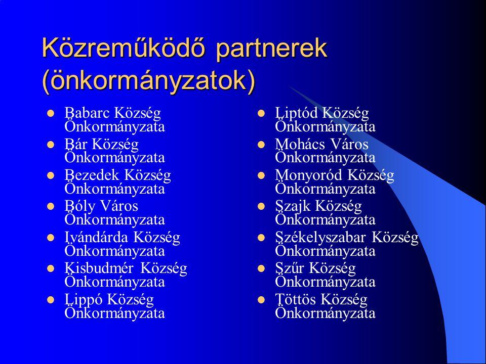 Közreműködő partnerek (önkormányzatok)  Babarc Község Önkormányzata  Bár Község Önkormányzata  Bezedek Község Önkormányzata  Bóly Város Önkormányz