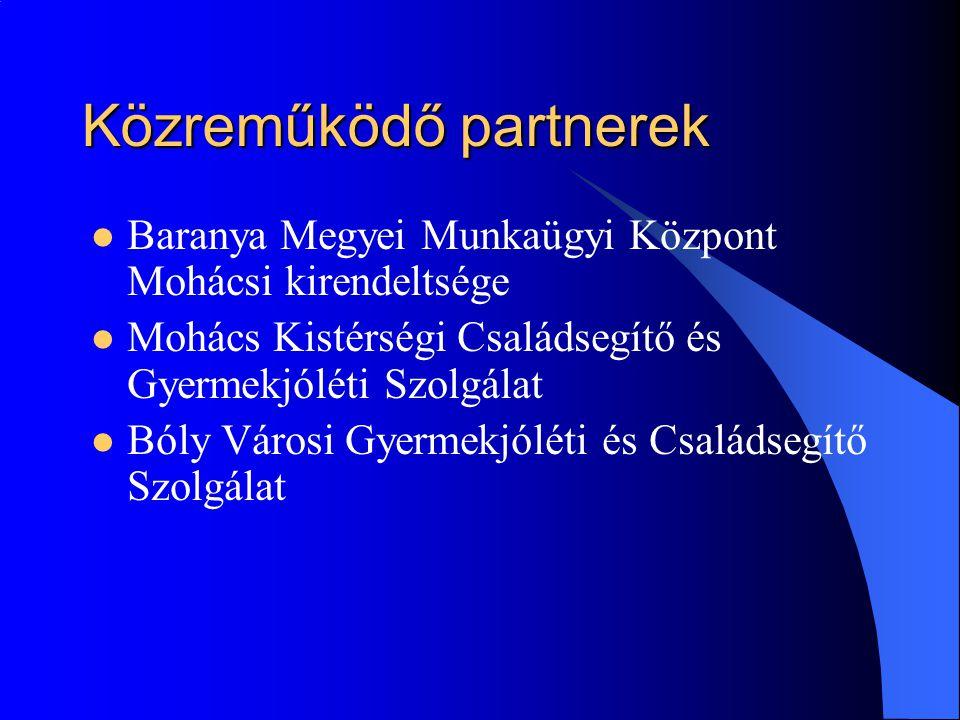 Közreműködő partnerek  Baranya Megyei Munkaügyi Központ Mohácsi kirendeltsége  Mohács Kistérségi Családsegítő és Gyermekjóléti Szolgálat  Bóly Városi Gyermekjóléti és Családsegítő Szolgálat