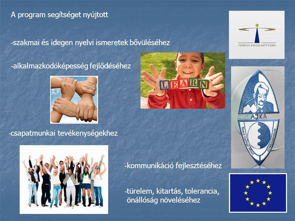 A program segítséget nyújtott - szakmai és idegen nyelvi ismeretek bővüléséhez - alkalmazkodóképesség fejlődéséhez - csapatmunkai tevékenységekhez - kommunikáció fejlesztéséhez - türelem, kitartás, tolerancia, önállóság növeléséhez