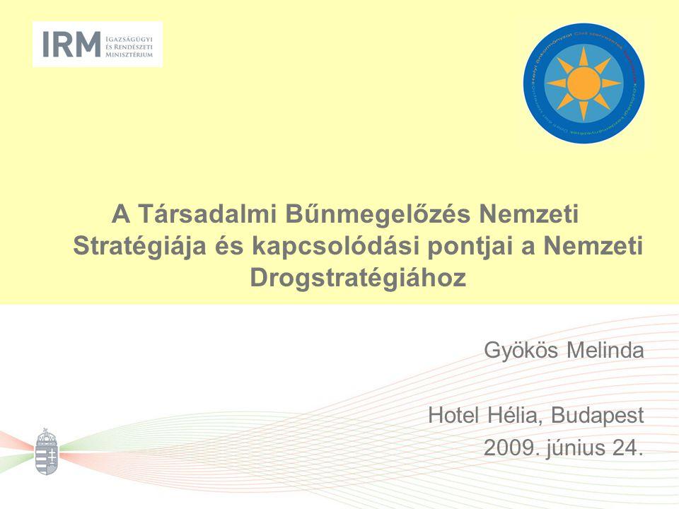 A Társadalmi Bűnmegelőzés Nemzeti Stratégiája és kapcsolódási pontjai a Nemzeti Drogstratégiához Gyökös Melinda Hotel Hélia, Budapest 2009. június 24.