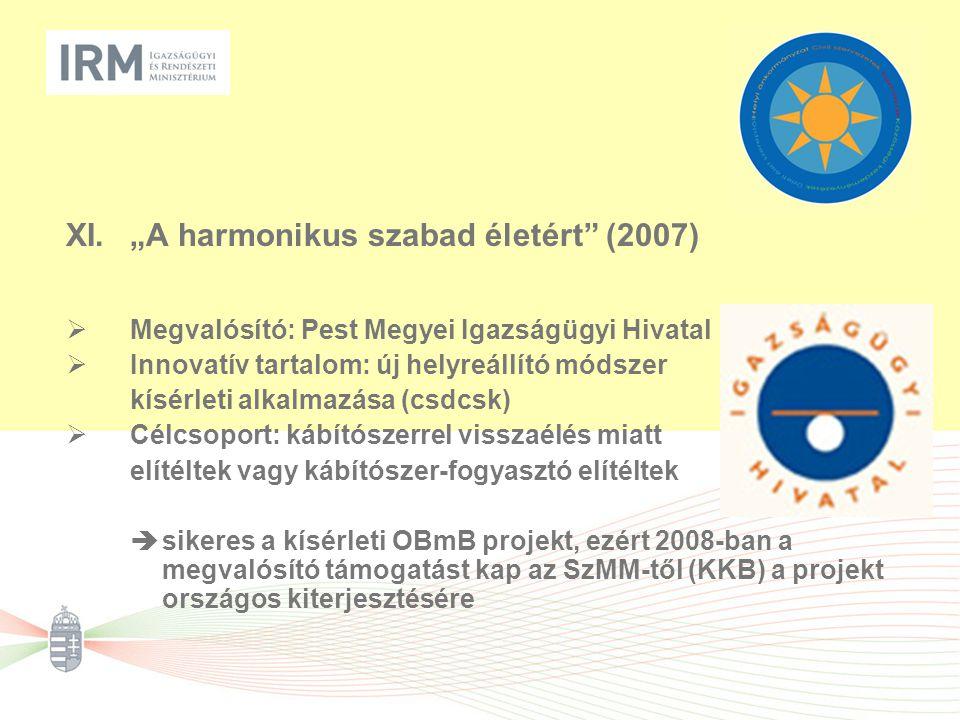 """XI.""""A harmonikus szabad életért (2007)  Megvalósító: Pest Megyei Igazságügyi Hivatal  Innovatív tartalom: új helyreállító módszer kísérleti alkalmazása (csdcsk)  Célcsoport: kábítószerrel visszaélés miatt elítéltek vagy kábítószer-fogyasztó elítéltek  sikeres a kísérleti OBmB projekt, ezért 2008-ban a megvalósító támogatást kap az SzMM-től (KKB) a projekt országos kiterjesztésére"""