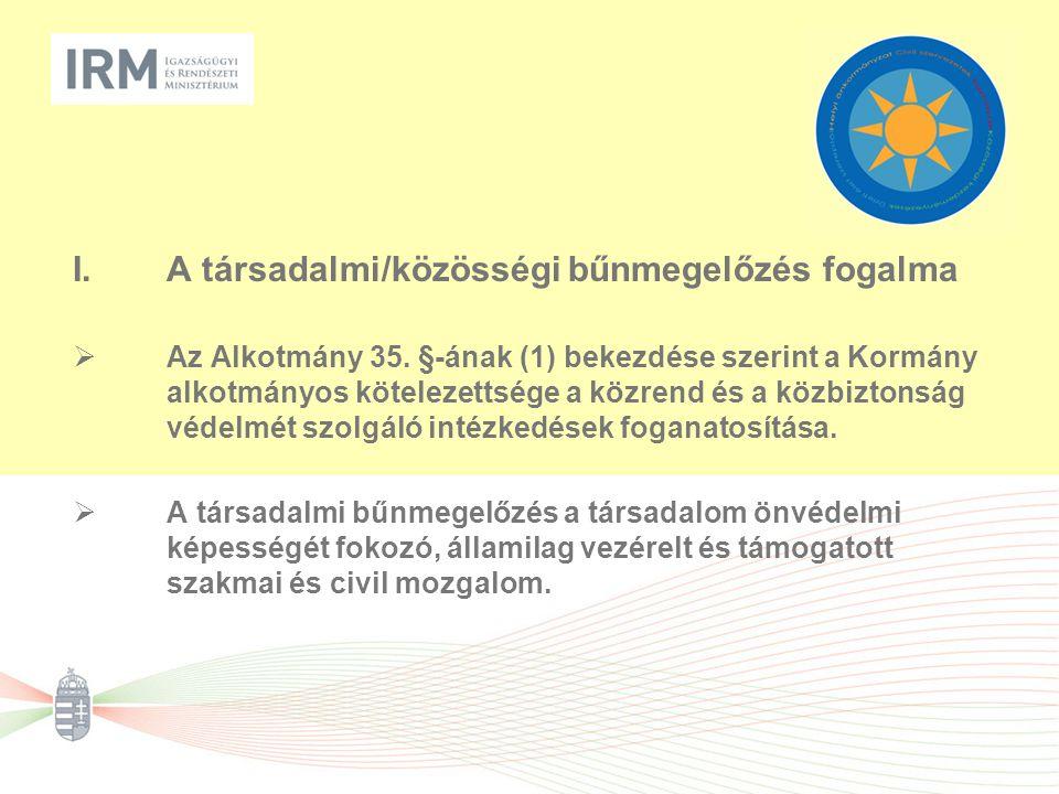 I.A társadalmi/közösségi bűnmegelőzés fogalma  Az Alkotmány 35. §-ának (1) bekezdése szerint a Kormány alkotmányos kötelezettsége a közrend és a közb