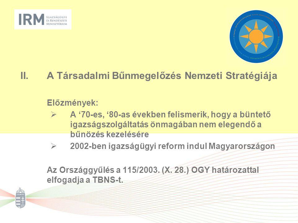 III.A TBNS alapelvei és működési elvei  paradigmák: megelőzés és helyreállítás  partnerség (vertikális, horizontális)  komplex megközelítés (a bűnokok hatását csökkentő, a sértetté válást megelőző és a bűnalkalmak számát redukáló intézkedések egyidejű alkalmazásának követelménye)  az emberi jogok tiszteletben tartása (a stigmatizáció tilalma; a kirekesztés elkerülése; kulturális, életkori, nemi különbségek figyelembe vétele; arányosság elve)