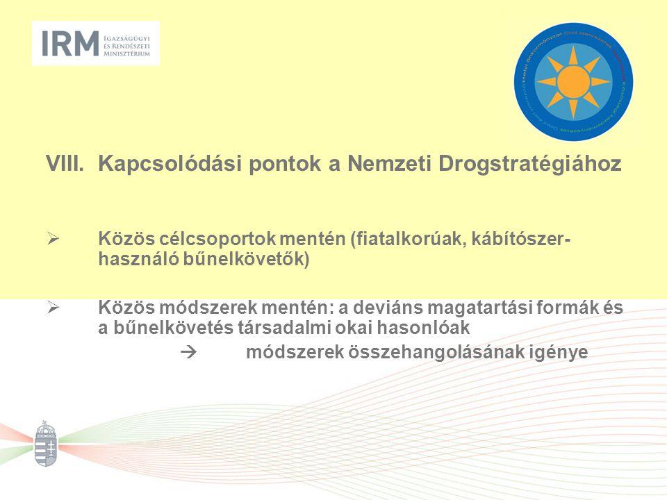 VIII.Kapcsolódási pontok a Nemzeti Drogstratégiához  Közös célcsoportok mentén (fiatalkorúak, kábítószer- használó bűnelkövetők)  Közös módszerek mentén: a deviáns magatartási formák és a bűnelkövetés társadalmi okai hasonlóak  módszerek összehangolásának igénye