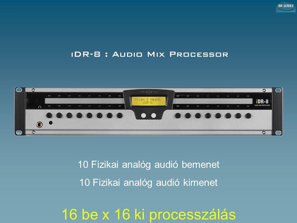 iDR-8 : Audio Mix Processor iDR-8 Audio Mix Processor 10 Fizikai analóg audió bemenet 10 Fizikai analóg audió kimenet 16 be x 16 ki processzálás