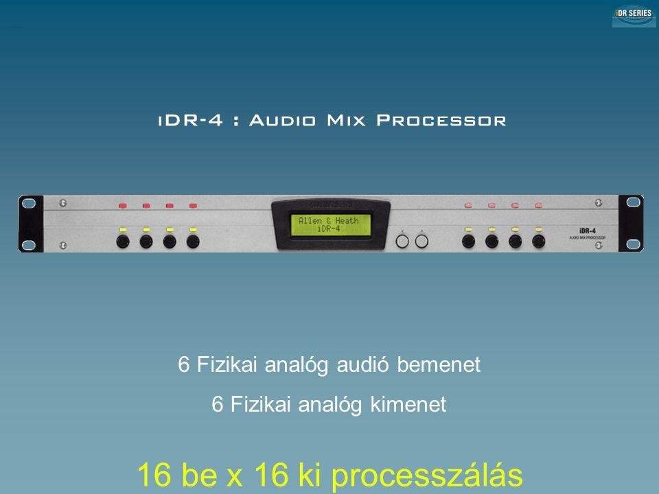 iDR-4 : Audio Mix Processor iDR-4 Audio Mix Processor 6 Fizikai analóg audió bemenet 6 Fizikai analóg kimenet 16 be x 16 ki processzálás