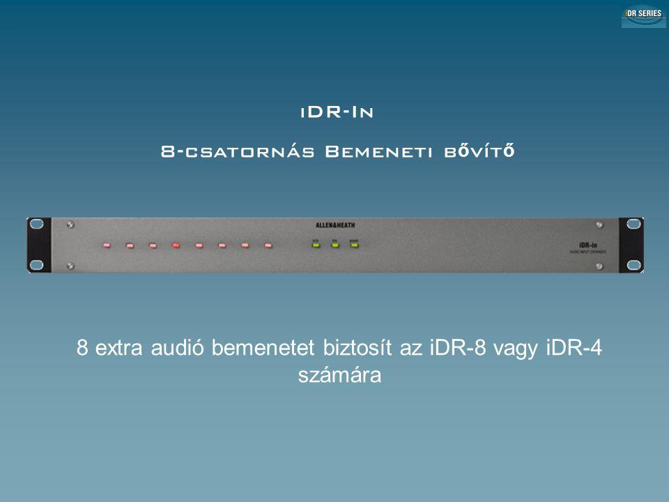 iDR-In 8-csatornás Bemeneti b ő vít ő 8 extra audió bemenetet biztosít az iDR-8 vagy iDR-4 számára iDR-In