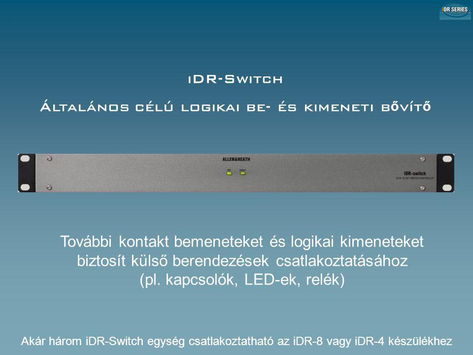 iDR-Switch Általános célú logikai be- és kimeneti b ő vít ő További kontakt bemeneteket és logikai kimeneteket biztosít külső berendezések csatlakoztatásához (pl.