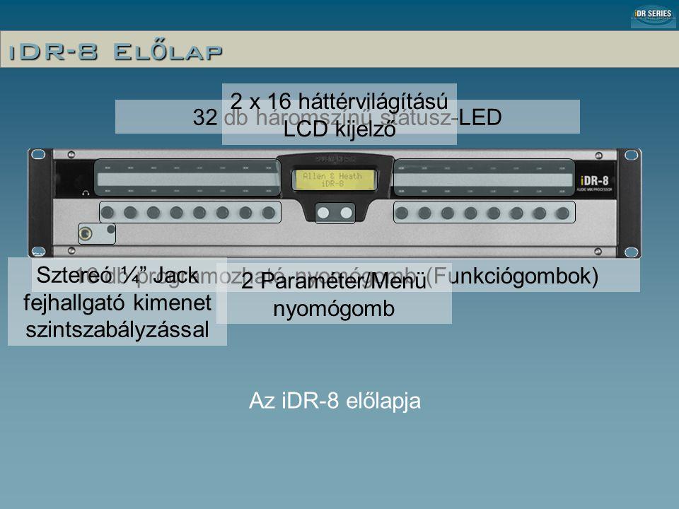 32 db háromszínű státusz-LED 16 db programozható nyomógomb (Funkciógombok) 2 Paraméter/Menü nyomógomb Sztereó ¼ Jack fejhallgató kimenet szintszabályzással 2 x 16 háttérvilágítású LCD kijelző Az iDR-8 előlapja iDR-8 El ő lap