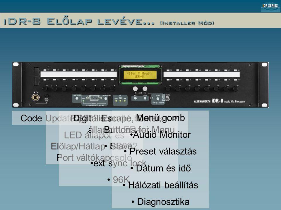 iDR-8 El ő lap levéve… (Installer Mód) Code Update gomb RS232 Port LED állapot és Előlap/Hátlap RS232 Port váltókapcsoló Digitális audió bővítők állapot LED-jei • Slave •ext sync lock • 96K Escape, Enter, Buttons for Menu Menü gomb •Audió Monitor • Preset választás • Dátum és idő • Hálózati beállítás • Diagnosztika