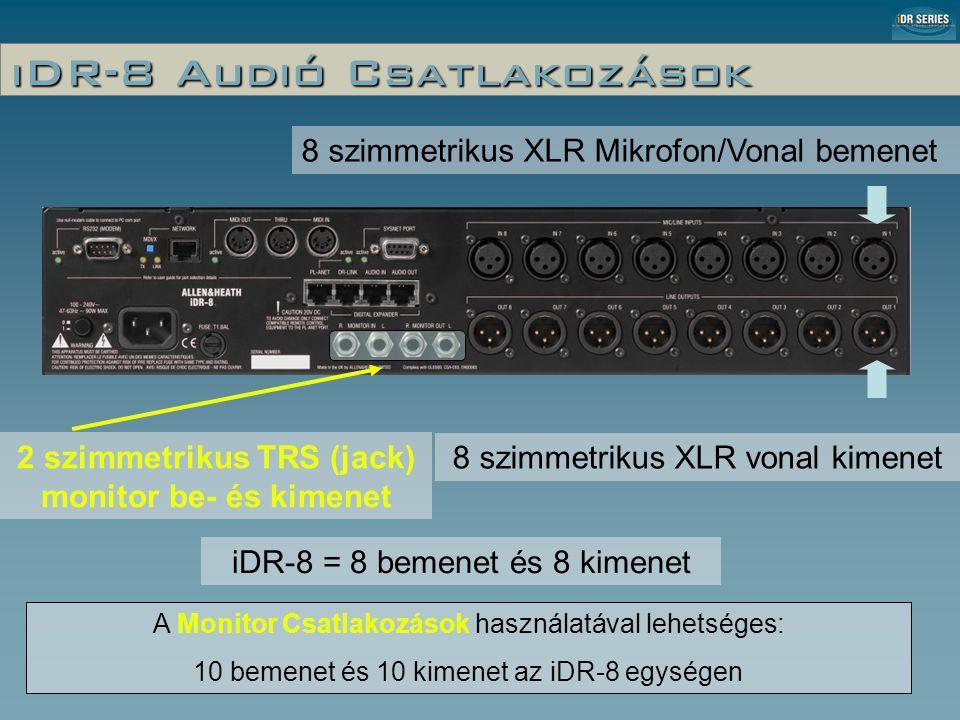 iDR-8 Audió Csatlakozások 8 szimmetrikus XLR Mikrofon/Vonal bemenet 8 szimmetrikus XLR vonal kimenet 2 szimmetrikus TRS (jack) monitor be- és kimenet iDR-8 = 8 bemenet és 8 kimenet A Monitor Csatlakozások használatával lehetséges: 10 bemenet és 10 kimenet az iDR-8 egységen