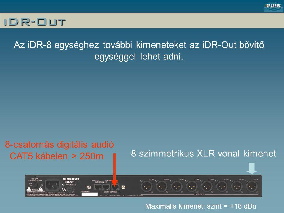 iDR-Out 8-csatornás digitális audió 8 szimmetrikus XLR vonal kimenet CAT5 kábelen > 250m Maximális kimeneti szint = +18 dBu Az iDR-8 egységhez további kimeneteket az iDR-Out bővítő egységgel lehet adni.