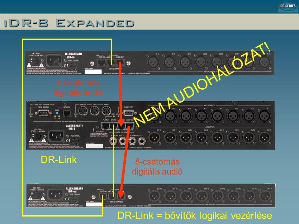 iDR-8 Expanded 8-csatornás digitális audió DR-Link DR-Link = bővítők logikai vezérlése NEM AUDIOHÁLÓZAT!