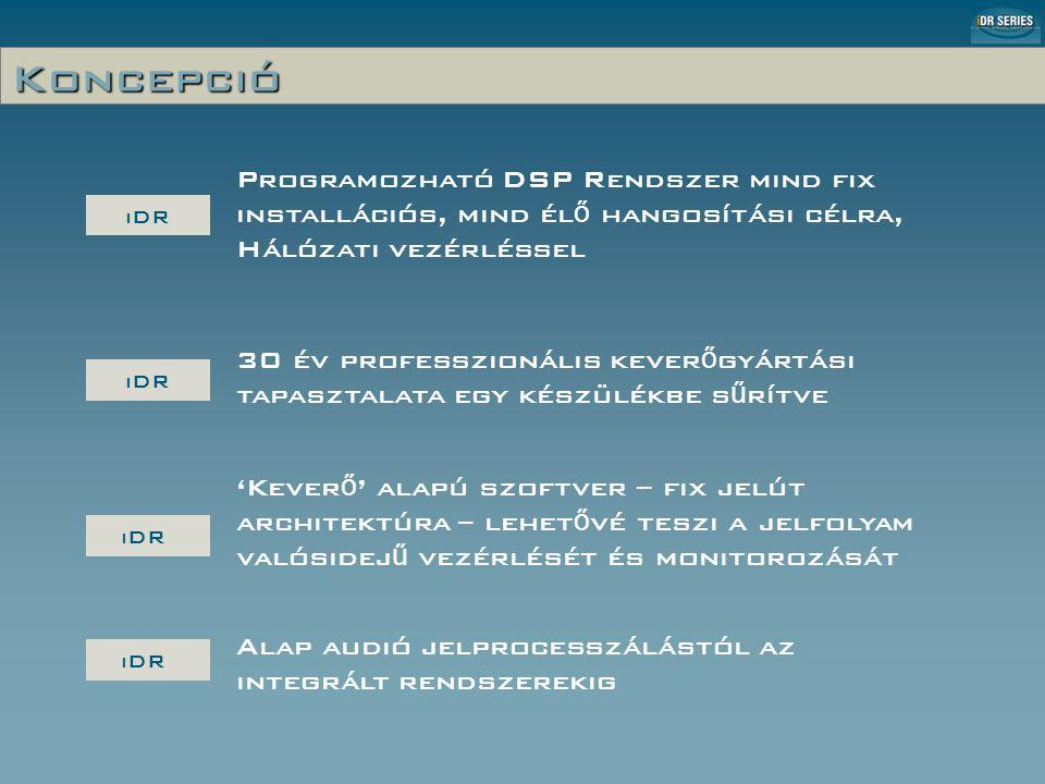 Koncepció iDR Programozható DSP Rendszer mind fix installációs, mind él ő hangosítási célra, Hálózati vezérléssel iDR 'Kever ő ' alapú szoftver – fix jelút architektúra – lehet ő vé teszi a jelfolyam valósidej ű vezérlését és monitorozását iDR 30 év professzionális kever ő gyártási tapasztalata egy készülékbe s ű rítve iDR Alap audió jelprocesszálástól az integrált rendszerekig