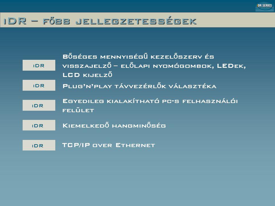 iDR-In 8-csatornás digitális audió Analóg Limiter Előerősítés állítás 3dB-s lépésekben / -50dBu … -5dBu (pad out) 20dB PAD +48V fantomtáp SZOFTVER-VEZÉRELT – NEM KELL FELNYITNI A KÉSZÜLÉKET!!.