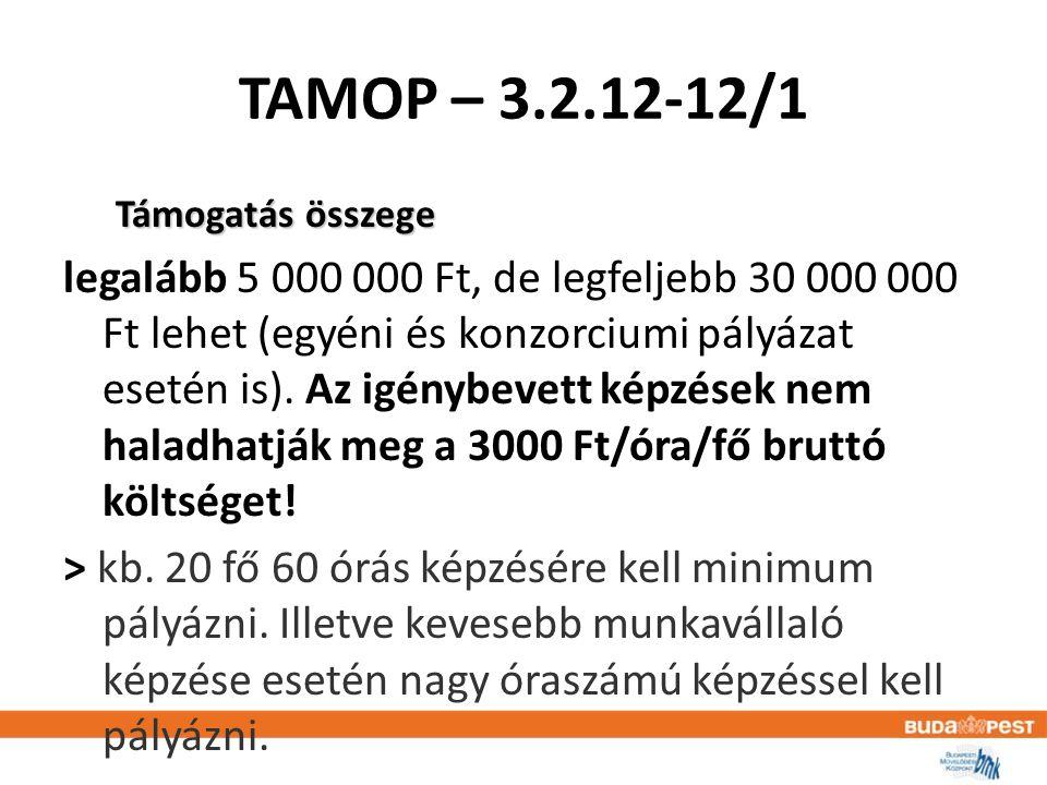 TAMOP – 3.2.12-12/1 Támogatás összege legalább 5 000 000 Ft, de legfeljebb 30 000 000 Ft lehet (egyéni és konzorciumi pályázat esetén is).