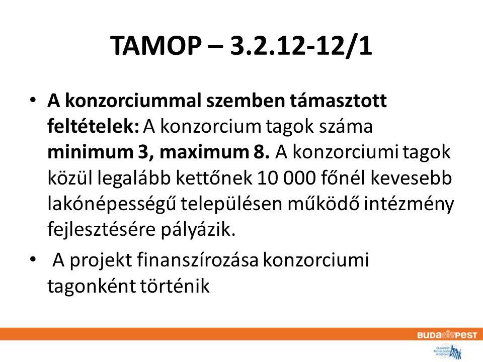 TAMOP – 3.2.12-12/1 • A konzorciummal szemben támasztott feltételek: A konzorcium tagok száma minimum 3, maximum 8.