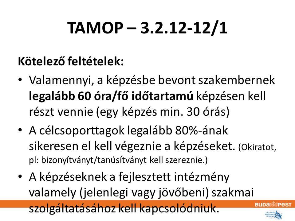 TAMOP – 3.2.12-12/1 Kötelező feltételek: • Valamennyi, a képzésbe bevont szakembernek legalább 60 óra/fő időtartamú képzésen kell részt vennie (egy képzés min.