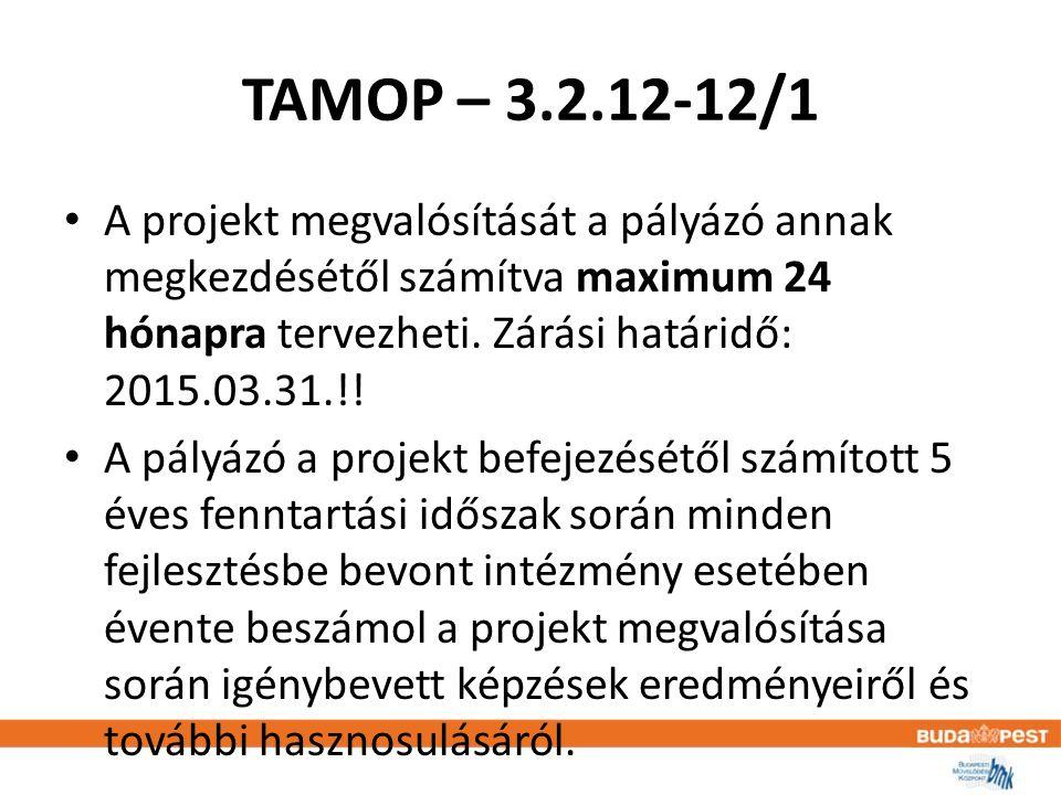 TAMOP – 3.2.12-12/1 • A projekt megvalósítását a pályázó annak megkezdésétől számítva maximum 24 hónapra tervezheti.