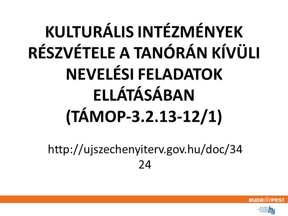 KULTURÁLIS INTÉZMÉNYEK RÉSZVÉTELE A TANÓRÁN KÍVÜLI NEVELÉSI FELADATOK ELLÁTÁSÁBAN (TÁMOP-3.2.13-12/1) http://ujszechenyiterv.gov.hu/doc/34 24