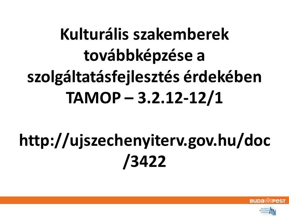 TAMOP – 3.2.12-12/1 • A konstrukció célja a humánerőforrás fejlesztés révén a kulturális intézmények alkalmassá tétele az új tanulási formák alkalmazására a gyermek és ifjúsági korosztály, valamint a hátrányos helyzetű csoportok számára, eredménye pedig ezen tanulási formák elterjesztése, az élethosszig tartó tanulást elősegítő szolgáltatások számának növekedése, a látogatottságnak, valamint a formális oktatás hatékonyságának növelése.