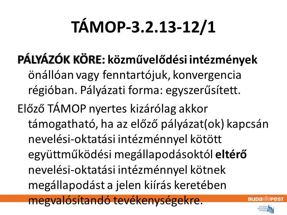 TÁMOP-3.2.13-12/1 PÁLYÁZÓK KÖRE: PÁLYÁZÓK KÖRE: közművelődési intézmények önállóan vagy fenntartójuk, konvergencia régióban.