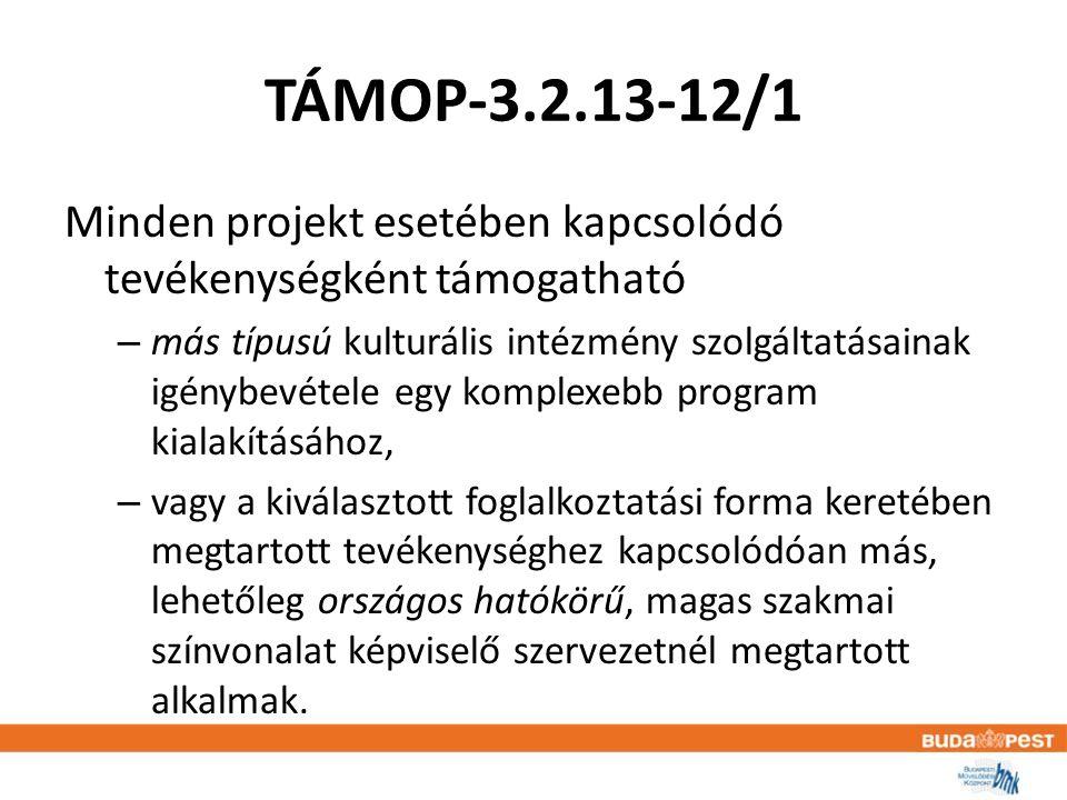 TÁMOP-3.2.13-12/1 Minden projekt esetében kapcsolódó tevékenységként támogatható – más típusú kulturális intézmény szolgáltatásainak igénybevétele egy komplexebb program kialakításához, – vagy a kiválasztott foglalkoztatási forma keretében megtartott tevékenységhez kapcsolódóan más, lehetőleg országos hatókörű, magas szakmai színvonalat képviselő szervezetnél megtartott alkalmak.