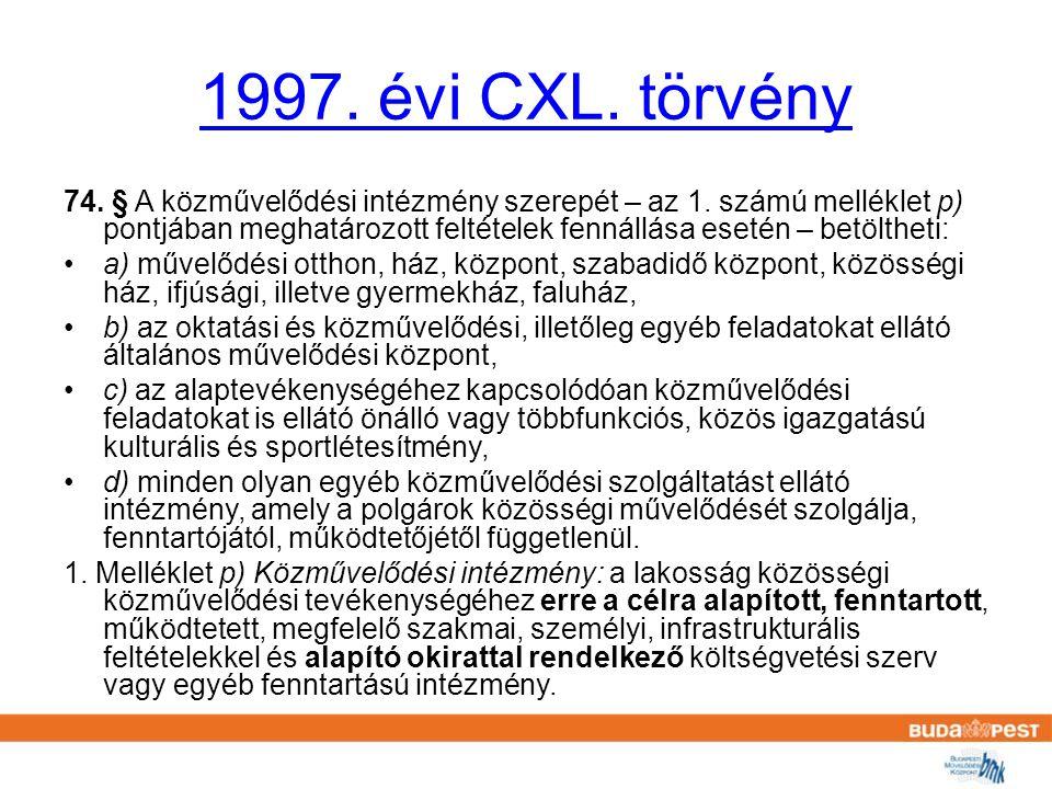 1997. évi CXL. törvény 74. § A közművelődési intézmény szerepét – az 1.
