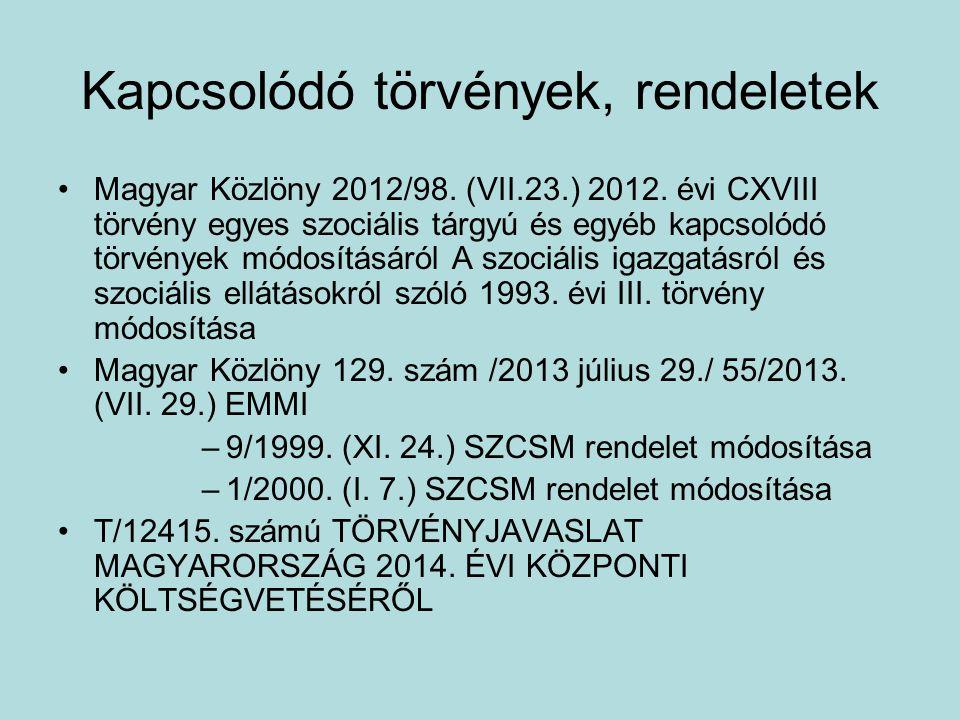 Kapcsolódó törvények, rendeletek •Magyar Közlöny 2012/98. (VII.23.) 2012. évi CXVIII törvény egyes szociális tárgyú és egyéb kapcsolódó törvények módo