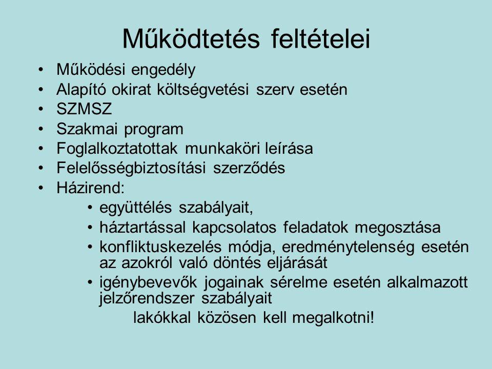 Működtetés feltételei II.
