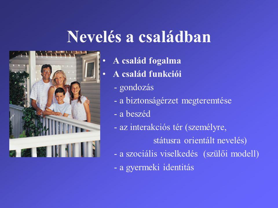 Nevelés a családban •A család fogalma •A család funkciói - gondozás - a biztonságérzet megteremtése - a beszéd - az interakciós tér (személyre, státus