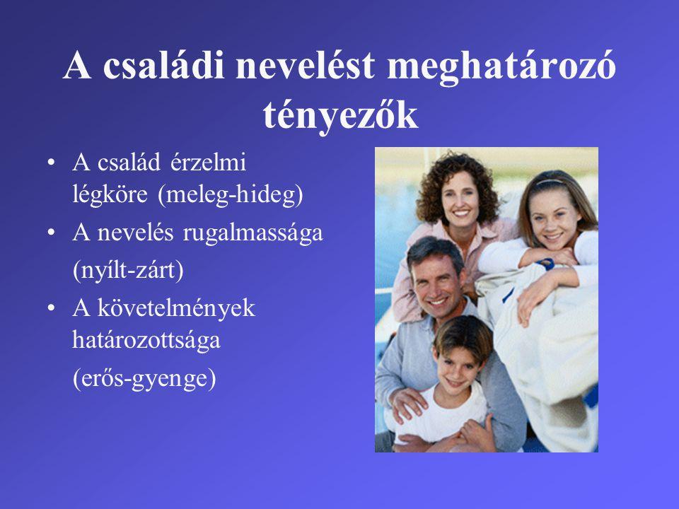 A családi nevelést meghatározó tényezők •A család érzelmi légköre (meleg-hideg) •A nevelés rugalmassága (nyílt-zárt) •A követelmények határozottsága (