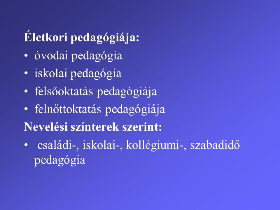 Életkori pedagógiája: •óvodai pedagógia •iskolai pedagógia •felsőoktatás pedagógiája •felnőttoktatás pedagógiája Nevelési színterek szerint: • családi-, iskolai-, kollégiumi-, szabadidő pedagógia